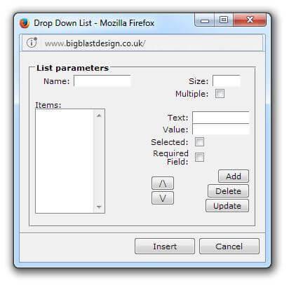 Drop down list form item