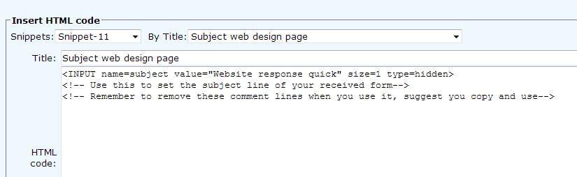 Form subject html