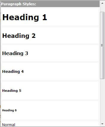 Heading 1 (H1) to H6 etc.